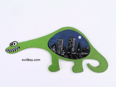 dinosaur eats city